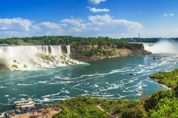 American Falls on USA side, shoot from Canadian side and also the Horse shoe falls in the back - panorama